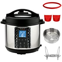 Kuvings 6 Litre Multipot Programmable Electric Pressure Cooker with Stainless Steel Pot. Pressure Cook, Slow Cook, Saute & More (MultiPot 6 Litres + Extra Accessories)