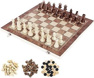 bestjunly 木製チェスセット 国際チェス 木製風 チェッカー付き ボードを折りたたむと収納可能 アンティーク 30cm