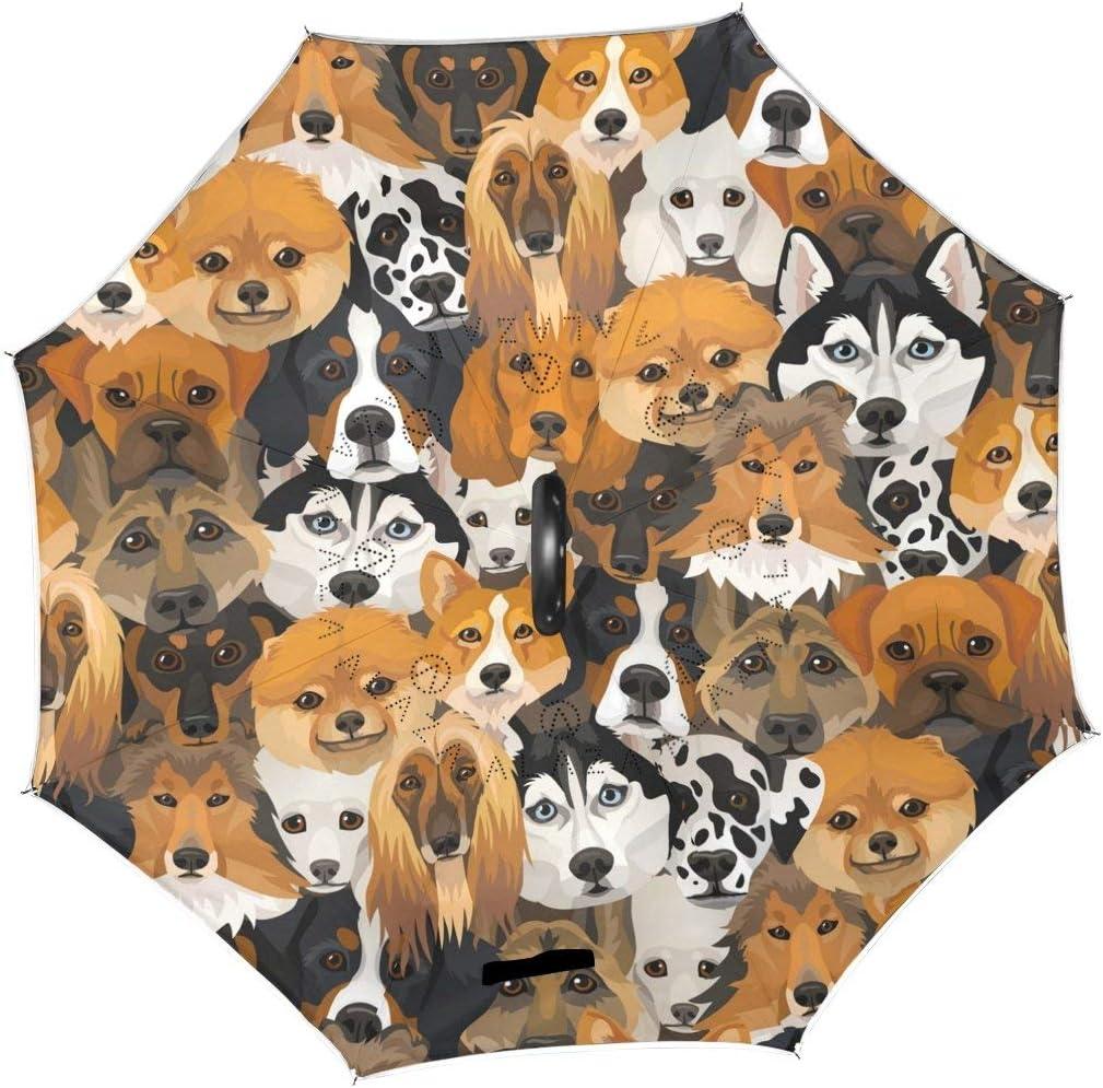 rodde Umbrella Free shipping / New Cute Vintage Dog Inverted Puppy Reverse Reversibl Seasonal Wrap Introduction
