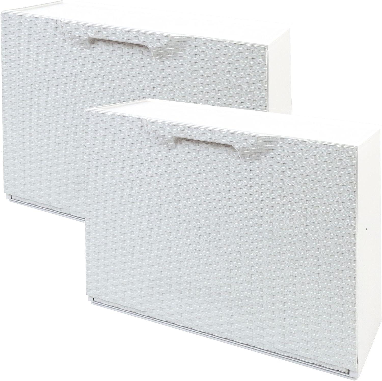 WellHome Pack de 2 zapateros en polipropileno color blanco ACABADO RATTAN, 40,1x51x17,3 cms. c/u