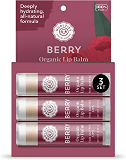 Woolzies 100% Natural Berry Lip Balm Chap Stick Set of 3 | Made with Bees Wax & Shea Butter