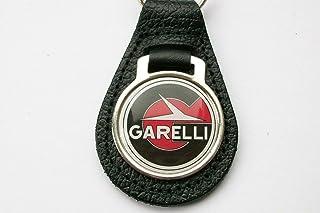 Garelli Schlüsselanhänger aus schwarzem Leder und Acryl