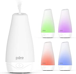 Pure Enrichment PureSpa Essential Oil Diffuser - Compact Air Deodorizer with 100ml Water Tank, Mood-Boosting Ionizer & Optional Color-Changing Light - Lastsup to 7 Hours with Auto Safety Shut-Off