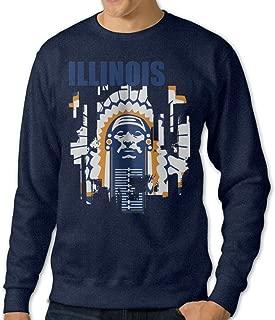 AuSin Men's Crewneck Hooded Sweatshirt University Of Illinois Navy