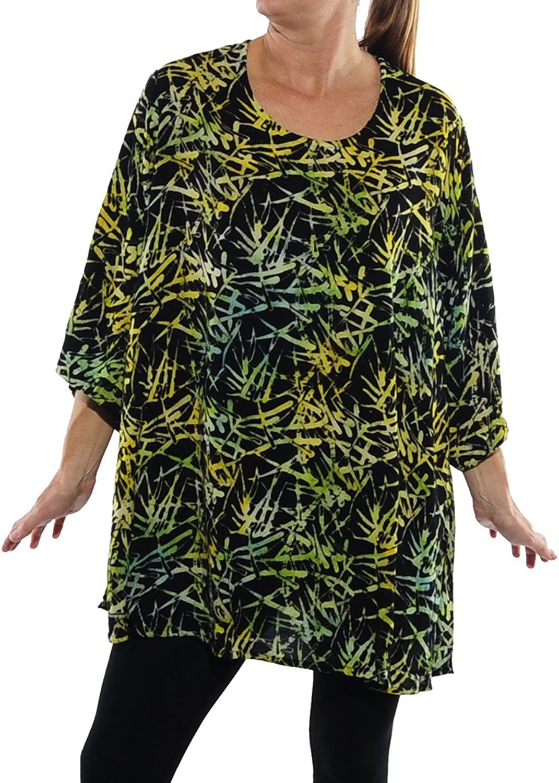 We Be Bop Womens Plus Size Green Bamboo Swing Top