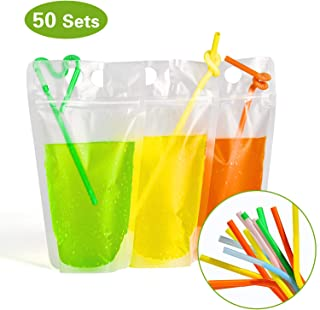 Easonove Drink Bags Stand up Reclosable Zipper Drinking Pouches Bags Hand-held Drinking Bags with Plastic Straw,(50 Pack)