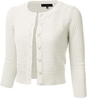 FLORIA Womens Button Down 3/4 Sleeve Crew Neck Cotton Knit Cropped Cardigan Sweater (S-3X)