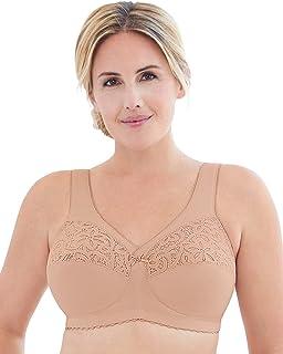 Glamorise Womens 1001 Full Figure MagicLift Cotton Wirefree Support Bra #1001 Full Coverage Bra - Beige
