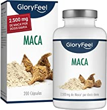 GloryFeel® Maca Andina - 200 Capsulas de Maca (Más de 6 Meses de Suministro) - 2.500mg de Maca por dosis diaria - Capsulas de la Raíz Original de Maca con Vitamina B12 - Hecha en Alemania