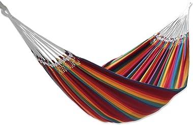 NOVICA Multicolor Rainbow Striped Cotton Fabric 2 Person Brazilian Hammock, 'Brazilian Rainbow' (Double)