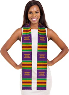 Kente Cloth Graduation Stole Red, Yellow or Purple