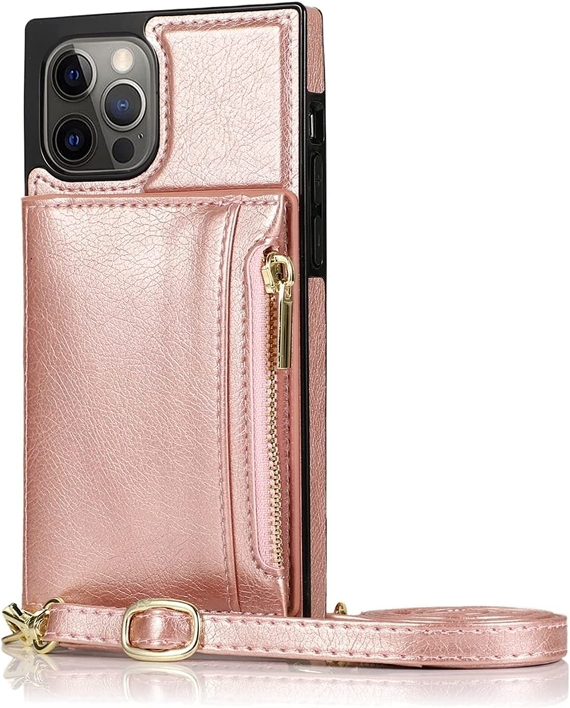 Case for iPhone 12 Pro Max, Magnetic Zipper Wallet Case with Credit Card Holder /Crossbody Lanyard, Shockproof Leather TPU Case Cover for iPhone 12 Pro Max 6.7-inch 2020 Release ( Color : Rosegold )