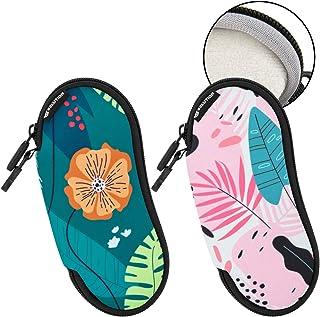 CaSZLUTION Sunglasses Soft Case Sleeve Ultra Light Neoprene Zipper Eyeglass Case Bag Organizer with Fluffy Lining Belt Clip