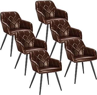 EUGAD Pack de 6 Sillas de Comedor Vintage Diseño de Cuero Sintético Sillas Nórdicas Moderna Silla de Cocina Salón Dormitor...
