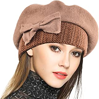 Lady French Beret 100% Wool Beret Floral Dress Beanie Winter Hat