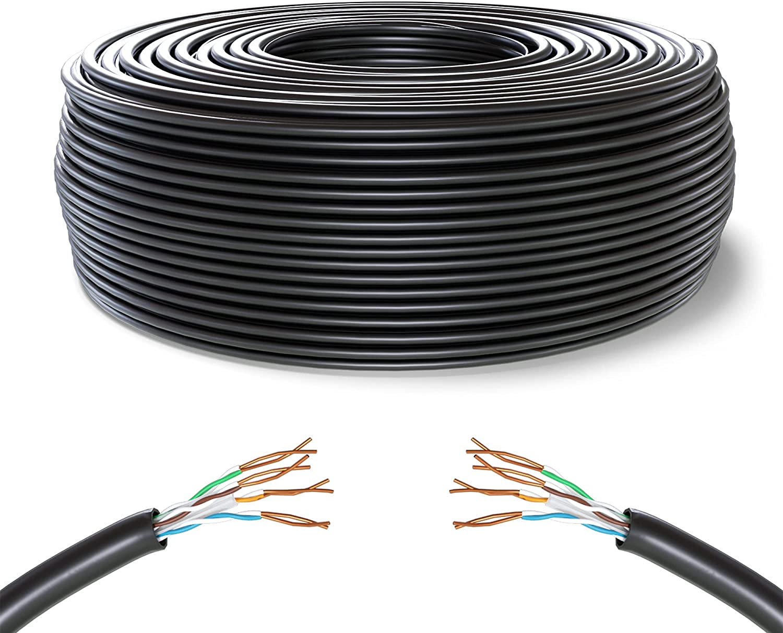 Mr. Tronic 50m Cable de Instalación Red Ethernet Bobina   CAT6, AWG24, CCA, UTP (50 Metros, Negro)