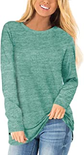 Womens Long Sleeve Crewneck Sweaters Casual Solid...
