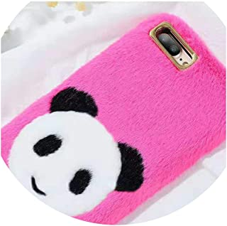 for iPhone 6 6s 7 8 Plus Winter Autumn Stereoscopic Villus Panda for iPhone X Victoria Secret for iPhone Case Cover,Rose Red,for iPhone 8