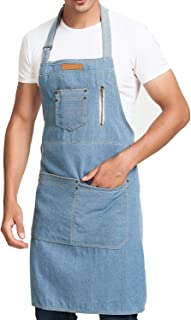 Denim Jean Apron for Women for Kitchen Cooking with Multi Pockets, Stylish, Lightweight, Novelty, Cute, Fashion, Soft, Comforbable, Ideal for Gift