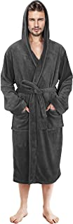 Mens Hooded Robe - Plush Long Bathrobes for Men