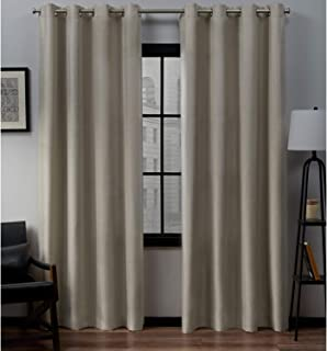 Exclusive Home Curtains Loha Linen Grommet Top Curtain Panel Pair, 54×84, Natural