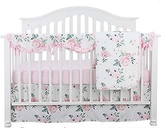 4PCS Crib Rail Guard Set Boho Floral Nursery Baby Bedding Ruffled Crib Skirt Crib Rail Cover Set (Pink Peony)