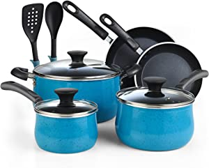 Cook N Home Nonstick Cookware Belly Shape 10-Piece, Turquoise