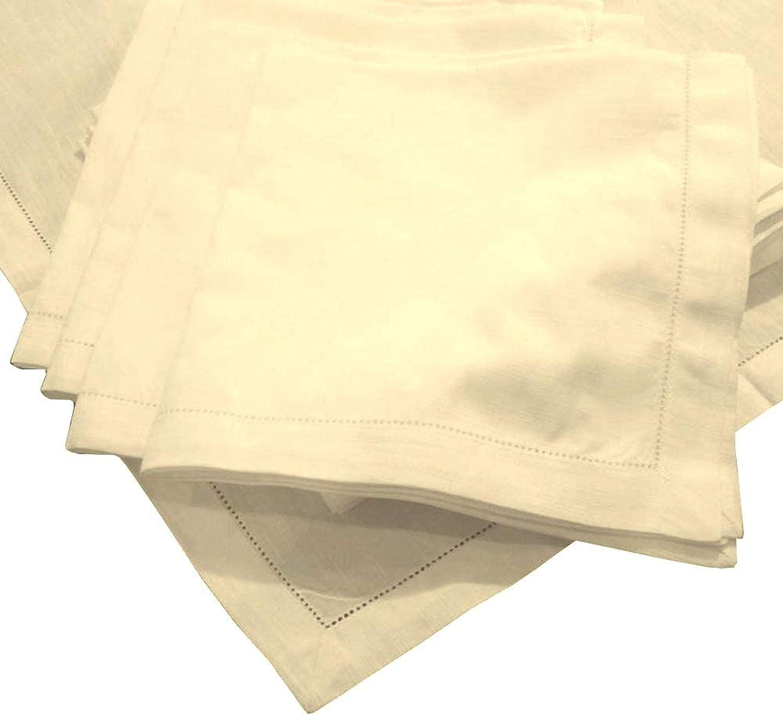 American Pillowcase Hemstitch Dinner Napkins Set Max 77% OFF High order 12 Ivory of -