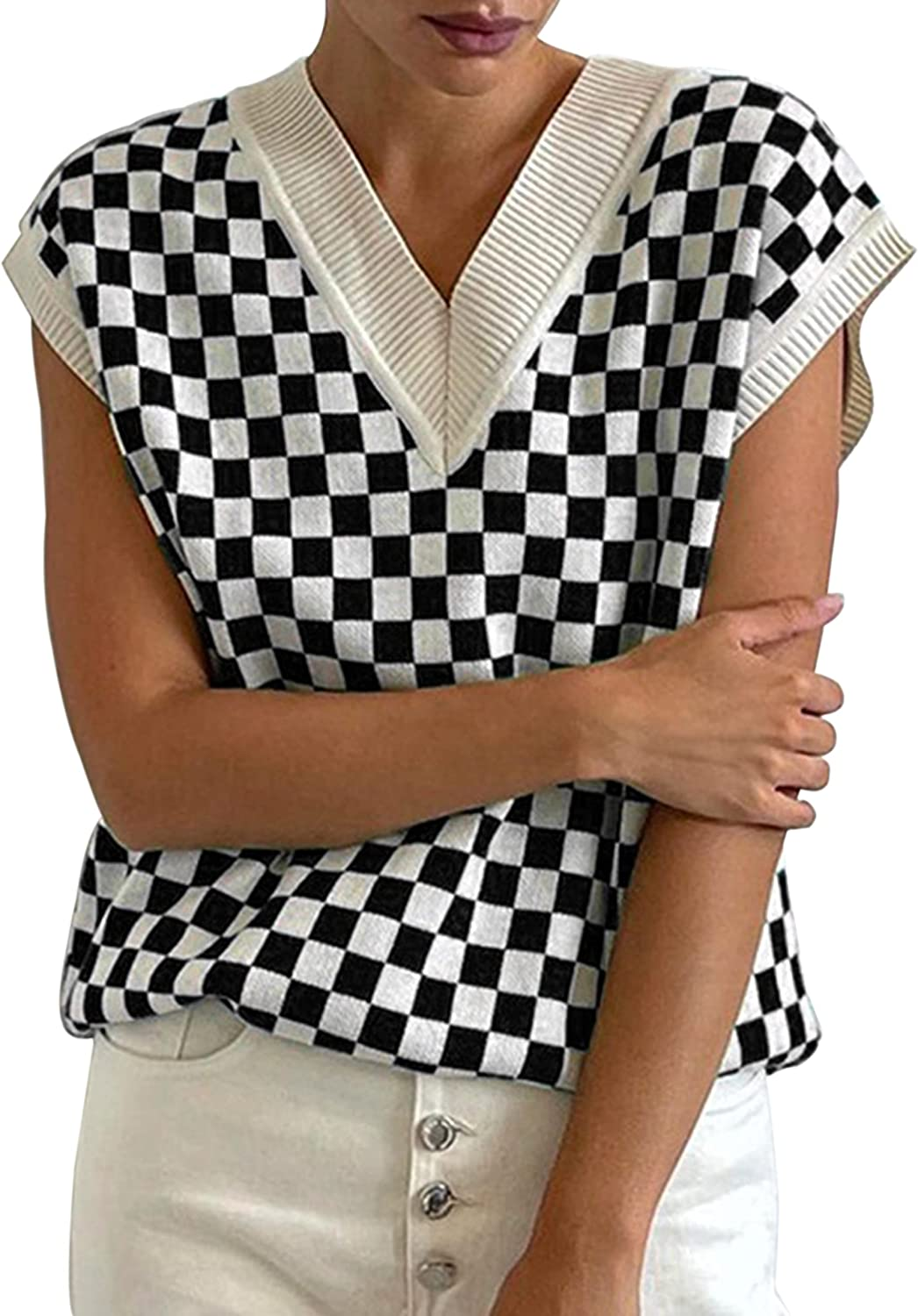 MISSACTIVER Women Y2K Oversized Plaid Pattern Knitted Sweater Vest V Neck Sleeveless Colorblock Pullover Knitwear Tank Top