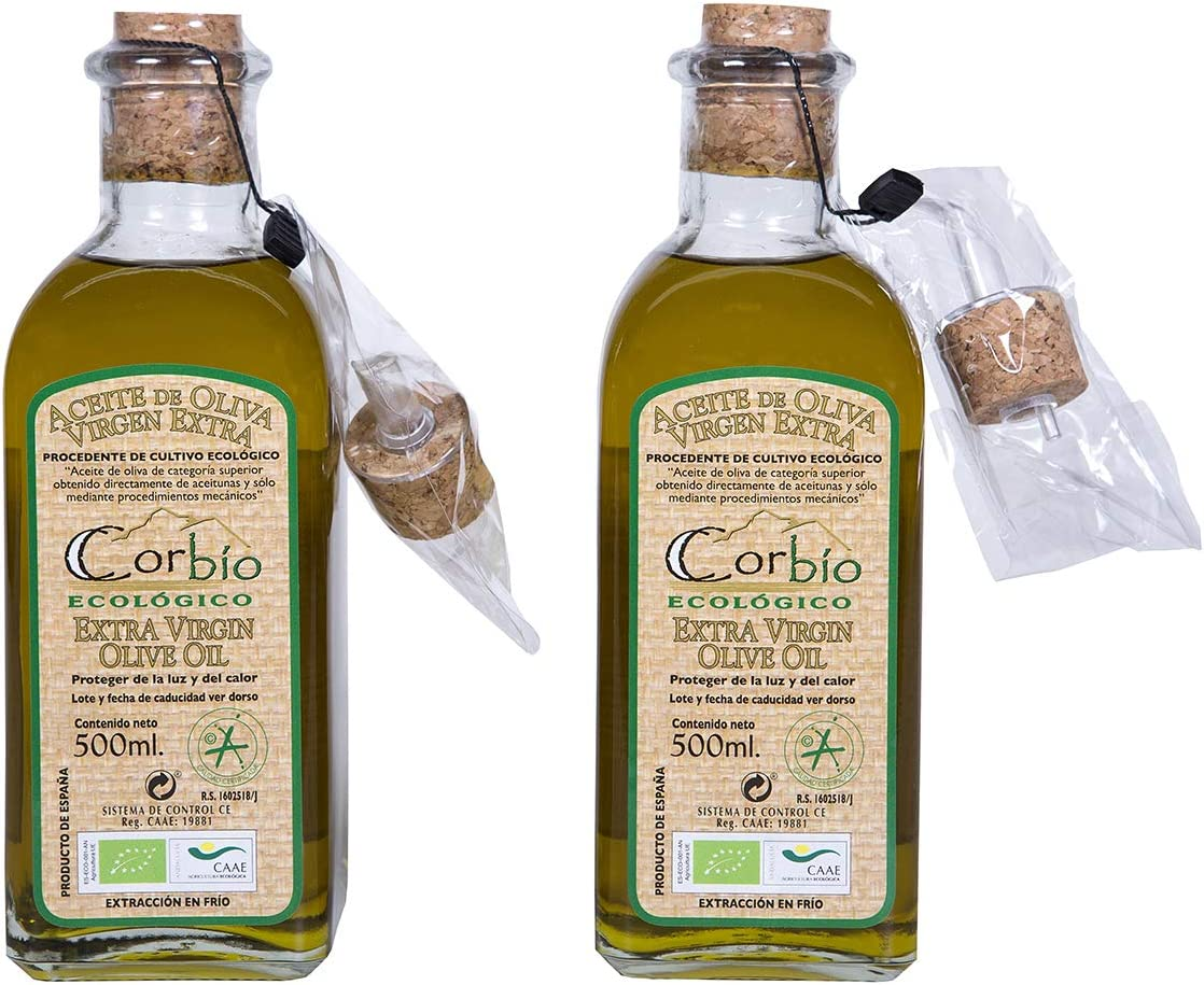 Corbío – Aceite de Oliva Virgen Extra Picual Ecológico. Pack 2x500 ml con dosificador.