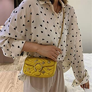 ZZZ Small Square Bag Small Fragrance Style Cross-body Texture European And American Shoulder Embroidery Thread Rivet Chain Wild fashion (Color : Yellow)