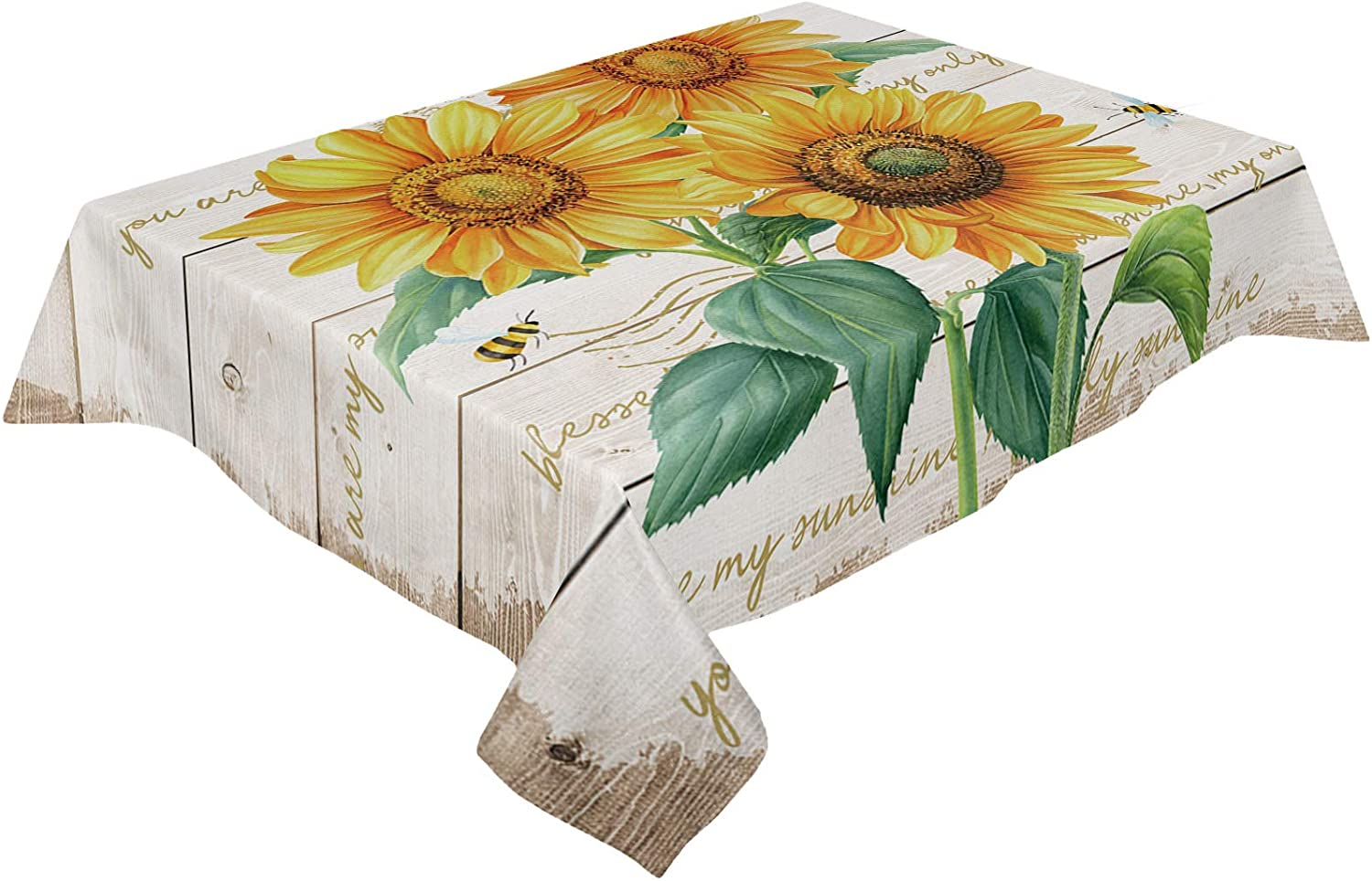 safety HELLOWINK Rectangle Spring new work Table Cloths 60x120inch Bee Vintage Sunflowe