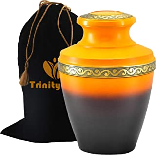 Golden Sunset Brass Cremation Urn - Beautifully Handcrafted Adult Funeral Urn - Solid Brass Funeral Urn - Affordable Urn for Human Ashes with Free Velvet Bag