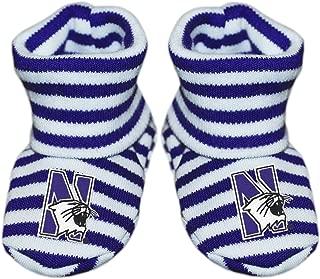Northwestern University Newborn Baby Striped Bootie Sock