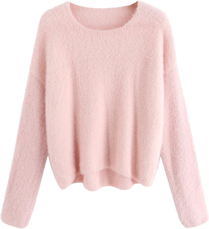 Milumia Women's Drop Shoulder Long Sleeve Jumper Wram Fluffy Sweater Top
