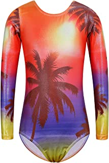 BAOHULU Girls Gymnastics Leotards Sparkle Print Athletic Clothes One Piece Dance Outfit B181_Orange_8A