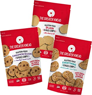 Greater Knead Gluten Free Bagel Chips - Vegan, non-GMO, Free of Wheat, Nuts, Soy, Peanuts, Tree Nuts - Combo bags with Plain, Cinnamon Raisin, and Everything (3 bags)