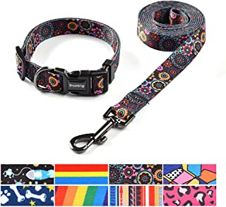 Ihoming Dog Collar with Leash Set in Several Styles Fit Small, Medium and Large Pets