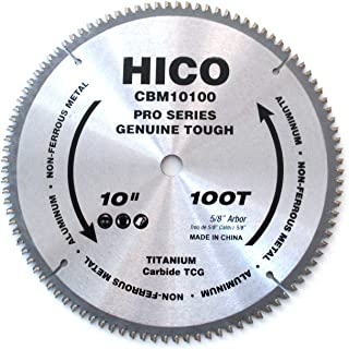 HICO 10-Inch 100-Tooth TCG Aluminum and Non-Ferrous Metal Saw Blade with 5/8-Inch Arbor, Metal-Cutting Circular Saw Blade