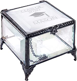 Personalized Graduation Gift For Her Glass Jewelry Box Engraved Keepsake For High School Graduate Or College Grad Class Of...
