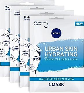 NIVEA Urban Skin Hydrating Face Sheet Mask, Hyaluronic Acid & Aloe Vera, 4 Sheets