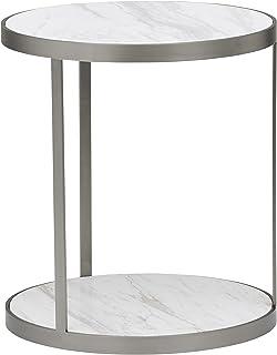 Marque Amazon -Rivet Molly - Table d'apppoint ronde en marbre et acier inoxydable