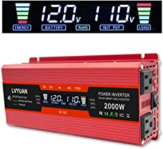 Cantonape 1000W/2000W(Peak) Car Power Inverter DC 12V to 110V AC Converter with LCD Display Dual AC Outlets and Dual USB C...