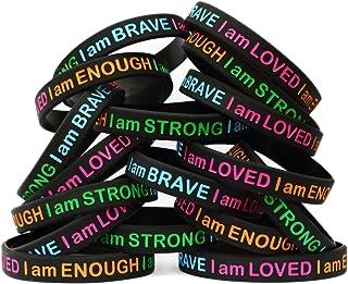 SayitBands 20 I Am Strong Brave Loved Enough Wristband Bracelets