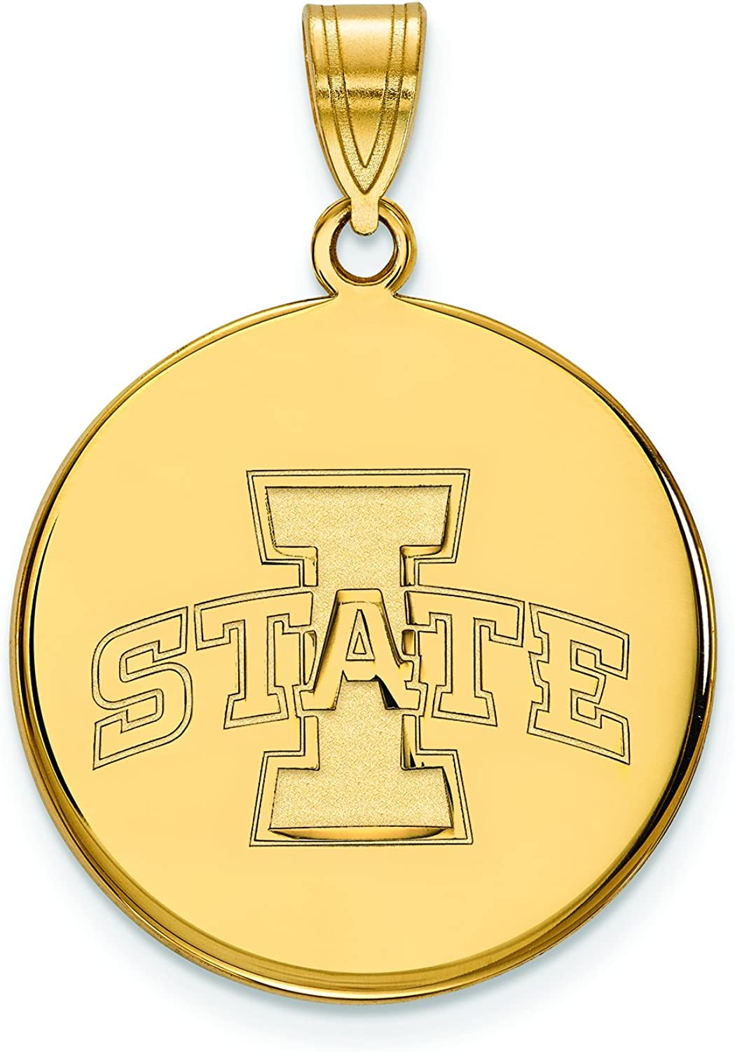 Iowa State Large (3 4 Inch) Disc Pendant (10k Yellow gold)