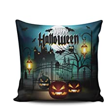 WULIHUA Pillow Covers Happy Halloween Scary Castle and Pumpkin Sofa Durable Modern Pillow Case Decorative Custom Throw Pillow Cases Double Sides Printed Square 20x20 Inches