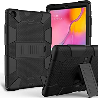 MENZO Case for Samsung Galaxy Tab A 10.1 2019(SM-T510/T515), Three Layer Hybrid Rugged Heavy Duty Anti-Slip Kickstand Case Full Body Protection Cover for Samsung Galaxy Tab A 10.1 2019 Release, Black
