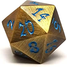 Metal Dice of Ancient Dragons - Ancient Gold - Powder Blue Dragon Font