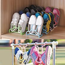 Dayalu 2 Pcs/Set Adjustable Simple Shoe Rack Shoes Organizer Shelf Plastic Shoe Hanger Double Layer Storage Shoes Rack