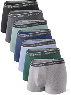 David Archy Men's 7 Pack Colorful Ultra Soft Comfy Breathable Bamboo Rayon Trunks Underwear No Fly